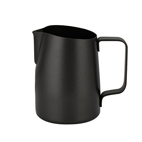 Pull Flower Cup Cylinder Coffee Foam Mugs 450ml Stainless Steel Non-Stick Coating Coffee Mugs Pitcher Milk Frothing Lattes Cup Black