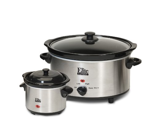 Elite Cuisine MST-500D Maxi-Matic 5 Quart Slow Cooker with Dipper Black Stainless Steel