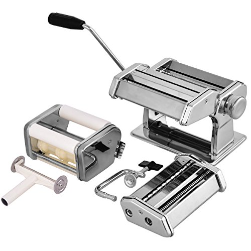 Costzon 5 in 1 Stainless Steel Pasta Maker Machine 150 Roller with Pasta Cutter Adjustable Thickness Setting Spaghetti Maker with Hand Crank Clamp