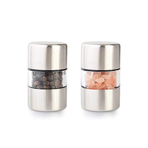 T-mark Premium Sea Salt and Pepper Grinder Set - Spice Mill with Brushed Stainless Steel Small Portable Ceramic Salt Pepper Shakers 2-Pack