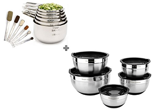Measuring Cups and Measuring Spoons with Mixing Bowls Combo Set by Simply Gourmet Contains 12 piece Measuring Cups and Spoons Set and 5 Piece Mixing Bowl Set