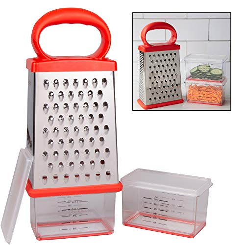 Box Cheese Grater w 2 Attachable Storage Containers- 4-Sided Stainless Steel Slicer and Shredder- 2 Hoppers for Cheeses Vegetables Chocolate - Soft Grip Handle and Non-Slip Base