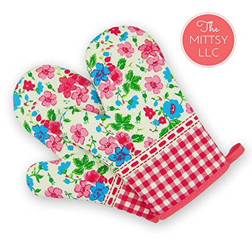 Set of Two Oven Mitts  Heat Resistant Cotton Kitchen Pot Holder Decorative Kitchen Oven Mitt Oven Glove  Kitchen Mitts Flowered Colorful