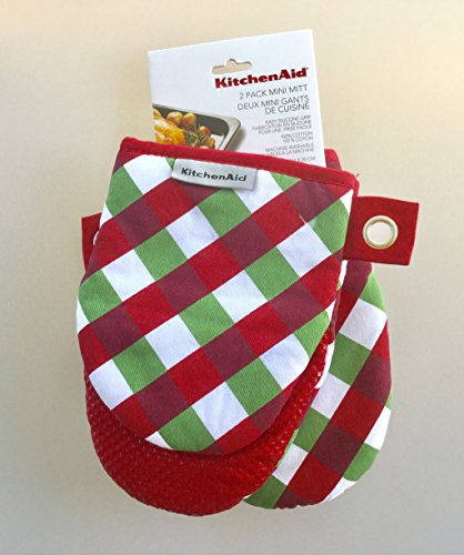 KitchenAid Mini Oven Mitt Set - 2 Pack- Christmas Plaid Red Green White