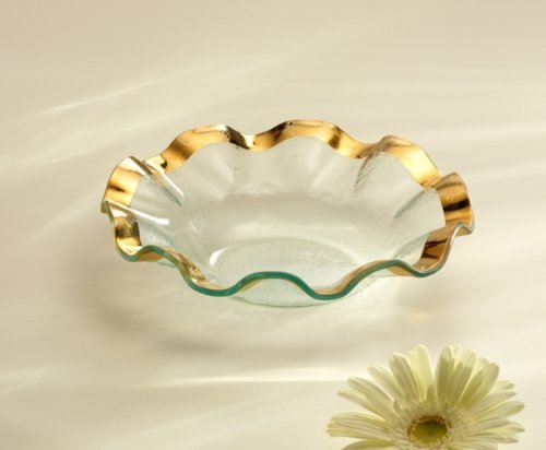Annieglass Soup Glass Bowl Ruffle with Gold Trim