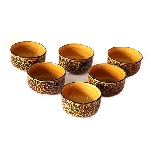 Handmade and hand decorated Crafted Khurja Pottery Brown Ceramic Multi Purpose Serving and Storage Deep Bowls Set Use For Snacks Serving Nut Serving Fruit Dessert Serving and Storage Qty-6