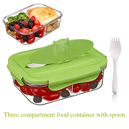 Food Storage Container Plastic Tritan Meal Prep Container 3 Compartment Airtight Food Container Bento Lunch Box Lunch Container with Spoon BPA-Free Microwave Freezer Dishwasher Safe 59oz
