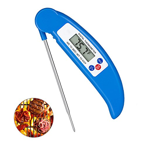 Digital Meat Thermometer Cooking Thermometer Instant Read with Food Safe Probe for Grill Kitchen bbq Smoker Oven Oil Milk by Lighting Mall Blue