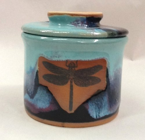 French Butter Keeper with Dragonfly Design in Mountain Waves Glaze