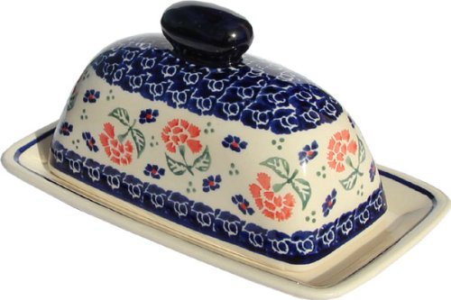 Polish Pottery Butter Dish 4 X 7 From Zaklady Ceramiczne Boleslawiec 1377-963 Traditional Pattern Dimensions 75 Inch X 44 Inch