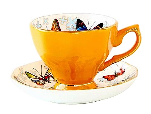 Yellow Exquisite Demitasse Cup Coffee Cup Espresso Cup and Saucer