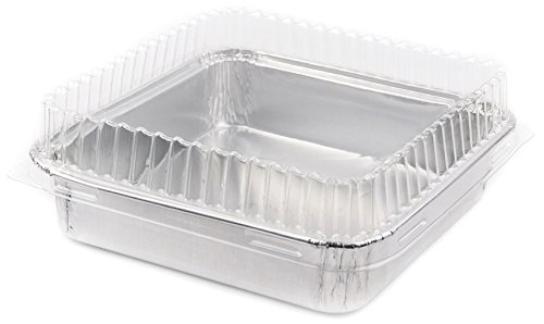 Foil Mini Cake Pans Square 4 18 X 4 18 Disposable Foil with Plastic Lid for Pastries 10 Sets