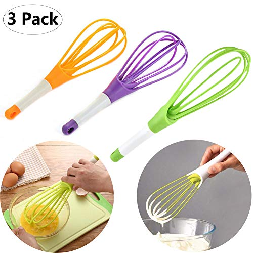 chelseabyt 3 Pack Silicone Balloon Whisk Kitchen Multi-Function Rotatable Egg Whisk Hand Mixer Beater for Cooking