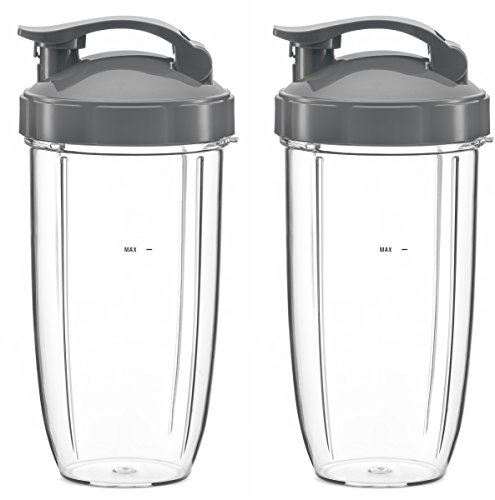 Preferred Parts Huge Replacement Cups with Flip Top To-Go Lid for NutriBullet High-Speed BlenderMixer 32oz NutriBullet Cup - Pack of 2