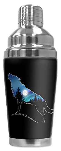 Mugzie 20 Ounce Stainless Steel Cocktail Shaker with Insulated Wetsuit Cover - Wolf Silhoutte