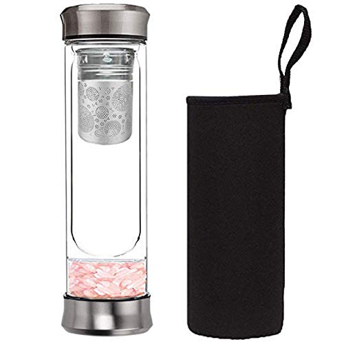 Dyshuai Crystal Energy Water Bottle Glass Tea Tumbler with Tea Infuser Bottle Strainer for Loose Leaf Herbal Green Tea Coffee or Fruit Water Infusions Travel Sleeve Pink