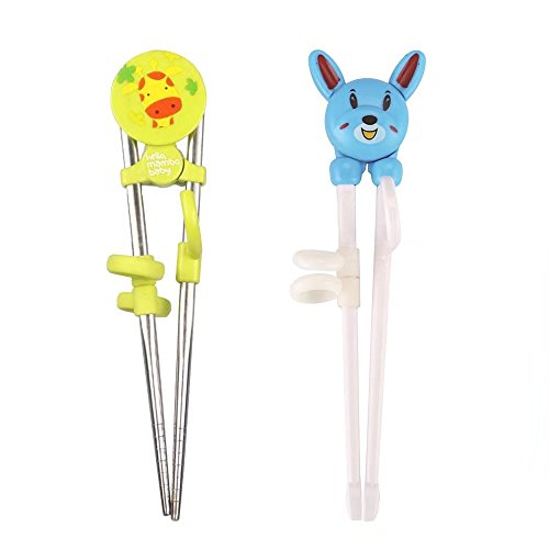 KateDy 2 Pairs Training Chopsticks Helper for Right Hand Baby Kids BeginnerCute Animals Sticks Chopsticks Utensil Set FlatwareLearn How to Use Chopsticks-Blue