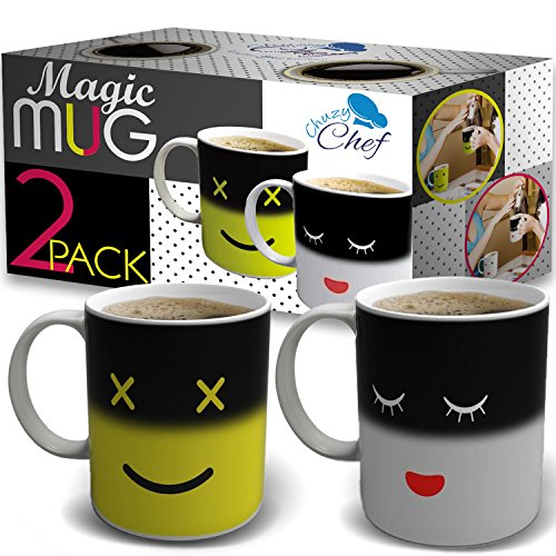 Heat Color Changing Mugs Gift - 2 Pack 12 Oz Heat Sensitive Color and Smiley Face Morning Changing Drinkware Ceramic Coffee Tea Cups Set - Gifts for Mom Friends Women Men - Chuzy Chef