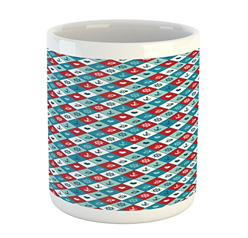 Anchor Mug by Lunarable Diagonal Squares Marine Objects Steering Wheel Sailboat Heart Shapes Aquatic Printed Ceramic Coffee Mug Water Tea Drinks Cup Blue Red White