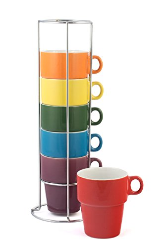 Gypsy Color Ceramic Coffee Mug Set of 6 Large 12 oz Stackable Cappuccino Cups with Chrome Stand Mulicolor Rainbow Flag Colors
