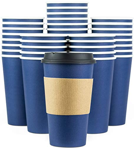 Disposable Coffee Cups With Lids - 16 oz To Go Coffee Cups 90 Set With Sleeves and Tight Lids Prevent Leaks Paper Hot Cup Holds Shape With Hot Cold Drinks Insulated to Protect Fingers from Heat