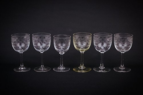 Harlequin 6 Small Crystal Zigzag Sherry PORT GLASSES 75Ml Victorian Old Antique Blown Engraved Stem Gift Unique English Circa 1900 LS
