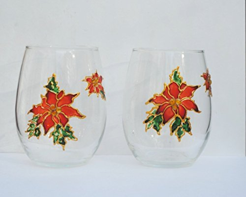 Red Poinsettia Stemless 20 oz Hand Painted Holiday Wine Glasses Set of 2