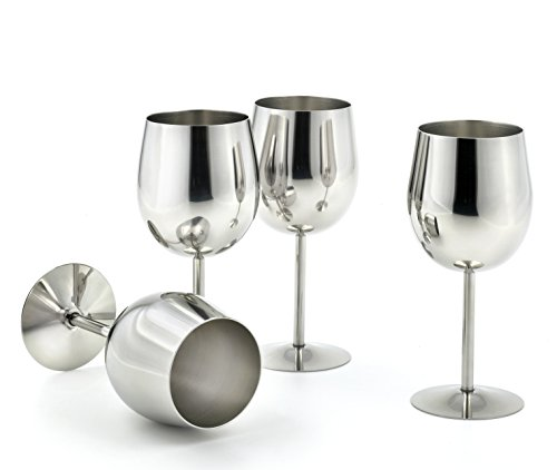StainlessLUX 77374 4-piece Brilliant Stainless Steel Wine Glass Set  Wine Tasting Goblet Set - Quality Drinkware for Your Enjoyment