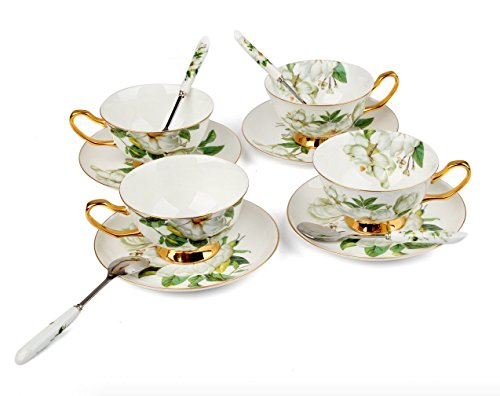 Porcelain Tea Cup and Saucer Coffee Cup Set White color with Saucer and Spoon 8 oz Set of 4 TC-SCH