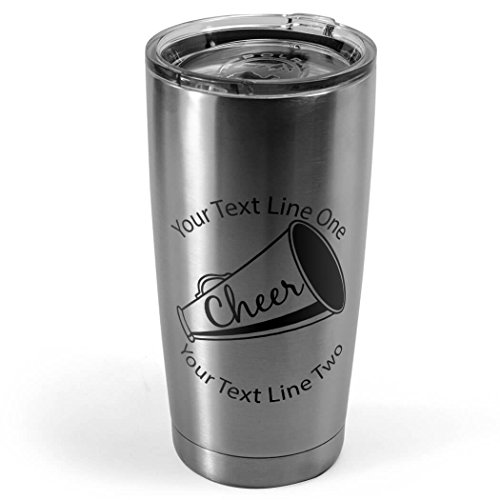 Megaphone Icon  Cheerleading 20 oz Double Insulated Tumbler by ChalkTalkSPORTS  Silver