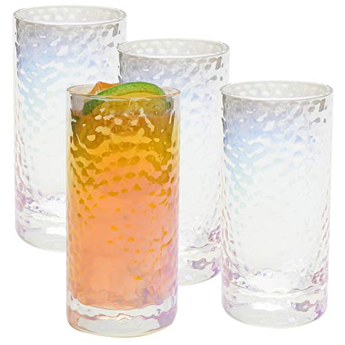 AILELAN Highball Drinking Glasses Attractive Bubble Colorful Design Highball Glasses Set of 4 Clear Heavy Base Tall Bar Glasses for Water Juice Beer Wine and Cocktails 11 Ounce