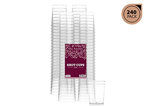Elite Selection Pack Of 240 Disposable Party Hard Plastic 2 Oz Shot Glasses Cups
