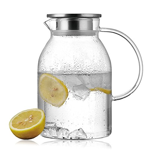 Lees Extra-thick Glass Iced Tea Pitcher With Strainer for Fruit Infusions 58 OZ Borosilicate Glass Carafe Glass Water Jug Lead-free BPA-free