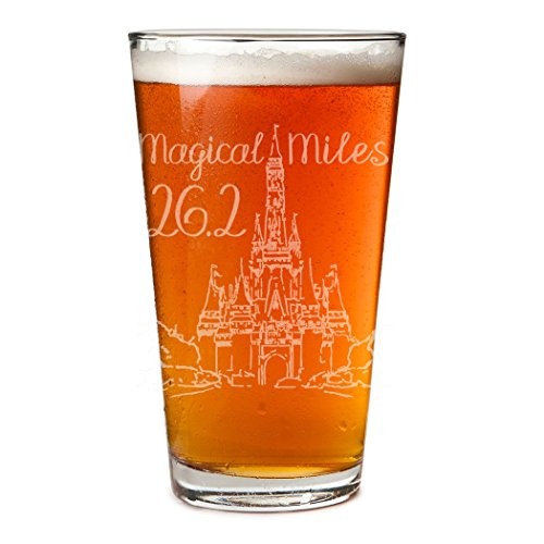 Magical Miles Sketch Engraved Beer Pint Glass By Gone For a Run  20 oz