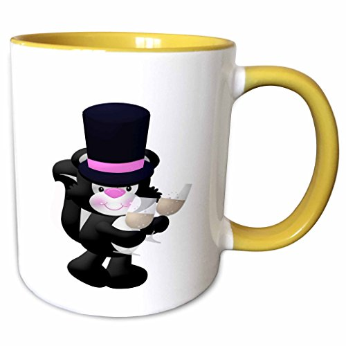 3dRose Anne Marie Baugh - Animals - Cute Black and White Skunk With A Top Hat and Two Champagne Glasses - 11oz Two-Tone Yellow Mug mug_222665_8