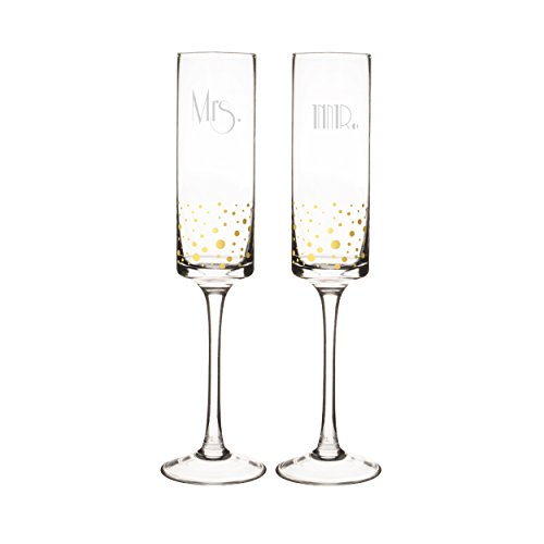 Cathys Concepts GMR-3668G Mr Mr Gatsby Rim Contemporary Champagne Flutes ClearGold