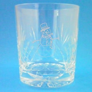 Cut Crystal Whisky Glass With Christmas Snowman Design and Presentation Box