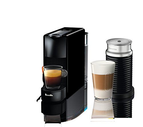 Nespresso Essenza Mini Espresso Machine by Breville with Aeroccino Piano Black