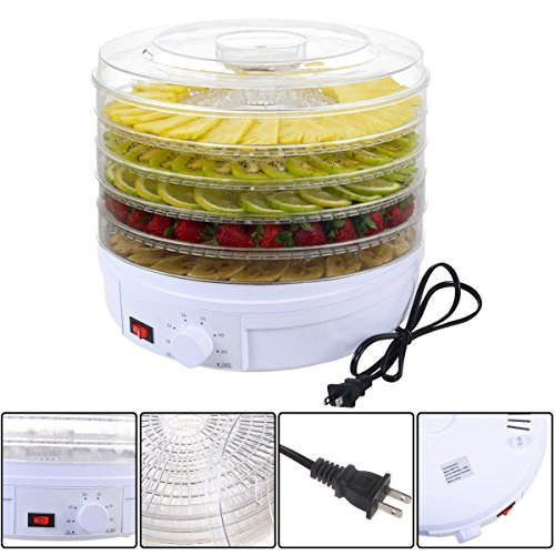 Edxtech 5 Tray Electric Food Dehydrator Fruit Vegetable Dryer Beef Snack Jerky White