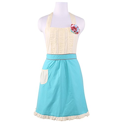 Neoviva Hostess Apron for Party Queen with Craft Flower and Ruffle Decoration Style Alice Lake Blue