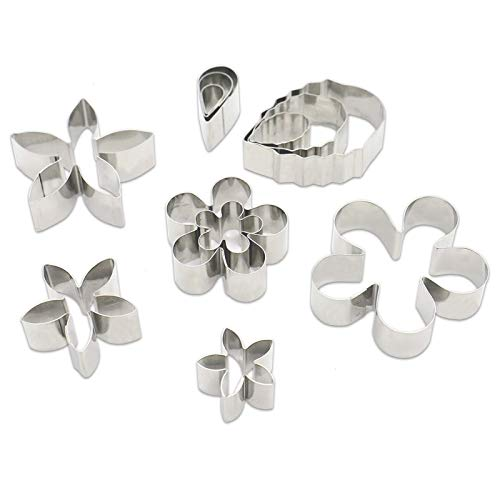Timoo 12 PCS Mini Stainless Steel Cookie Cutter Mold Kit Flower and Leaf Shape Fondant Cake Cutter Mold for Baking Homemade Treats