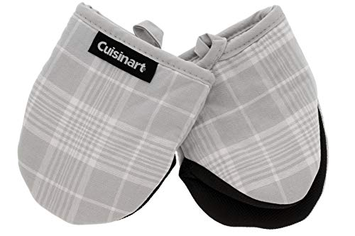 Cuisinart Neoprene Mini Oven Mitts 2pk - Heat Resistant Oven Gloves Protect Hands and Surfaces with Non-Slip Grip and Hanging Loop-Ideal Set for Handling Hot Cookware Bakeware- Glen Plaid Grey
