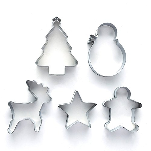 Pastry cutters cookie Cutter Mould Stainless Steel  Star Tree Snowman Beer Man Shapes  Set of 5 by KAISHAN