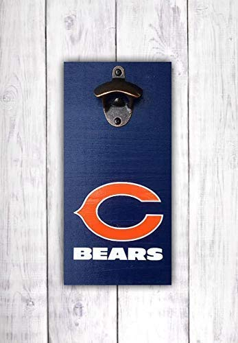 Chicago Bears Bottle Opener  Bears Football Bar Sign  Wall Mounted Opener -by LEADING EDGE DESIGNS
