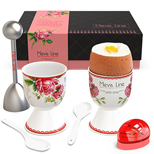 Boiled Eggs Complete Set – 2 Boiled Eggs Holders 1 Egg Topper Cutter a Boil Egg Timer and 2 Spoons - Easy to Use and Precise – Suitable as Family Gifts Mom Gift or Gifts for Kitchen