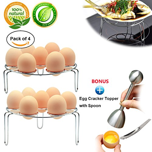Egg Steam Rack instant pot accessories 4-Pack Egg Cooker Stand for Pressure Cooker Cooking Ware Food Steam Rack Stand Basket Egg Cracker Topper with Spoon Set Stainless Steel Kitchen Tool
