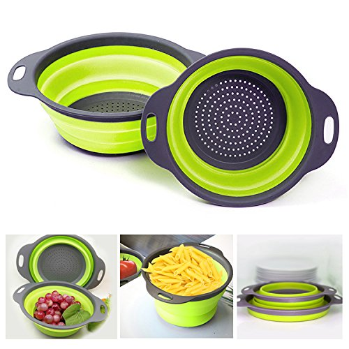 Collapsible Colanders Vipe 2pcs Food-Grade Silicone Kitchen Folding Strainer Bowl Colander Set for Vegetables Fruit Kitchen Tool