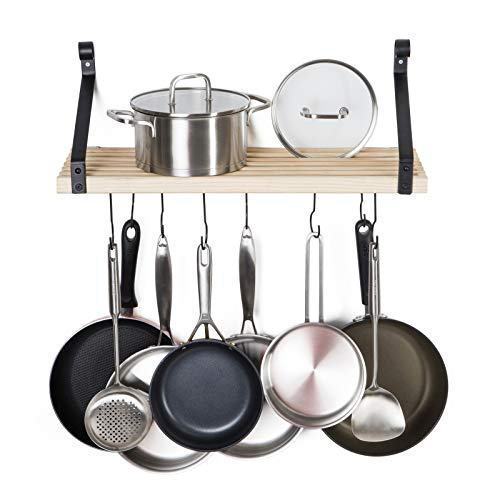 Soduku Pot Pan Rack with Solid Wood Shelf Wall Mounted Multifunctional Kitchen Hanging Organizer with 8 Hooks for Pots Pans Lids Utensils Cookware Natural
