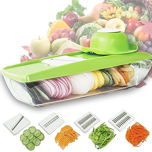 5-in-1 Mandoline Vegetable Slicer Julienne Cutter Potato Chopper Cheese Grater Kitchen Slicing Tool with 5 Interchangeable Stainless Steel Blades and Food Storage Container