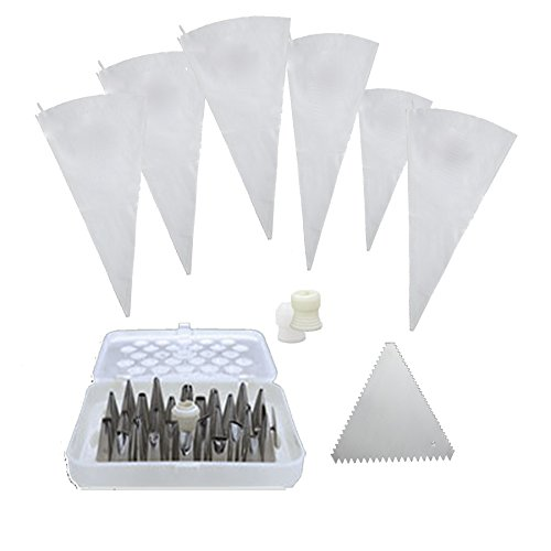 LeRose Deluxe Baking and Cake Decorating Set ~ 35 Piece ~ 6 Sizes Reusable Icing  Pastry Bags 26 Tips w Case Coupling Set Triangle Decorating Comb